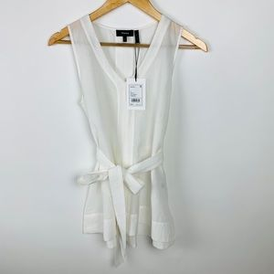 THEORY Desea V Airy Cotton Top Tie-Waist Blouse